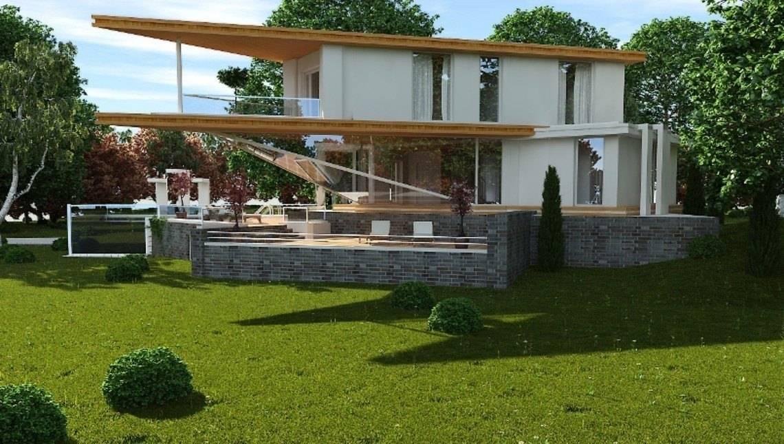 Проект виллы в стиле хай тек с гаражом в цокольной зоне