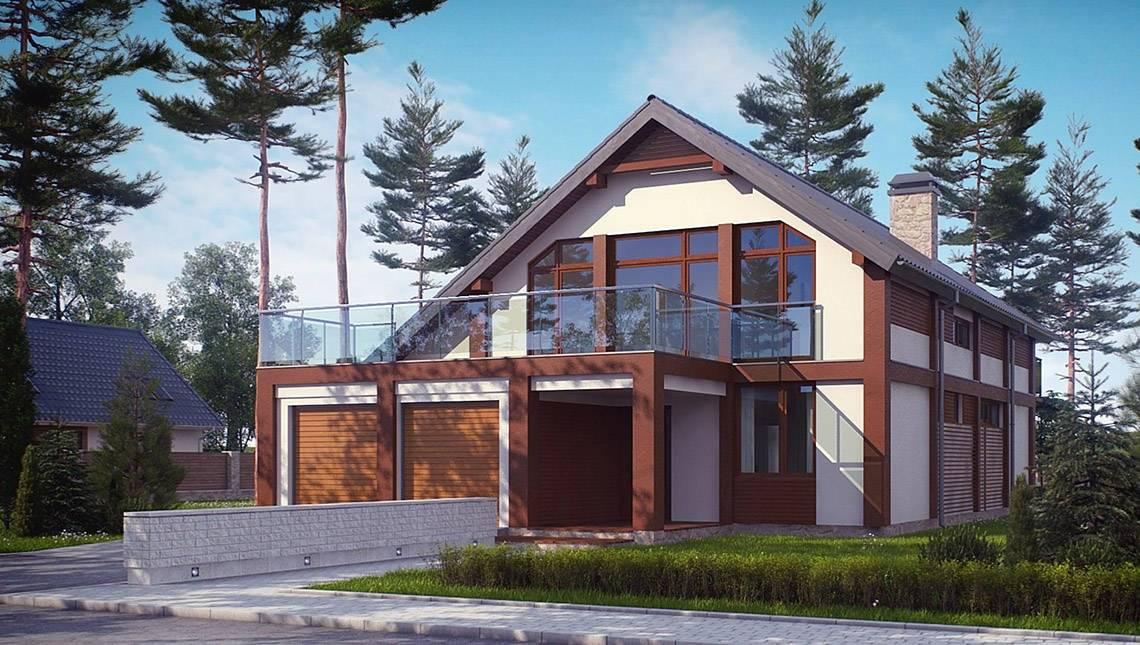 Проект просторного дома с террасой над гаражом