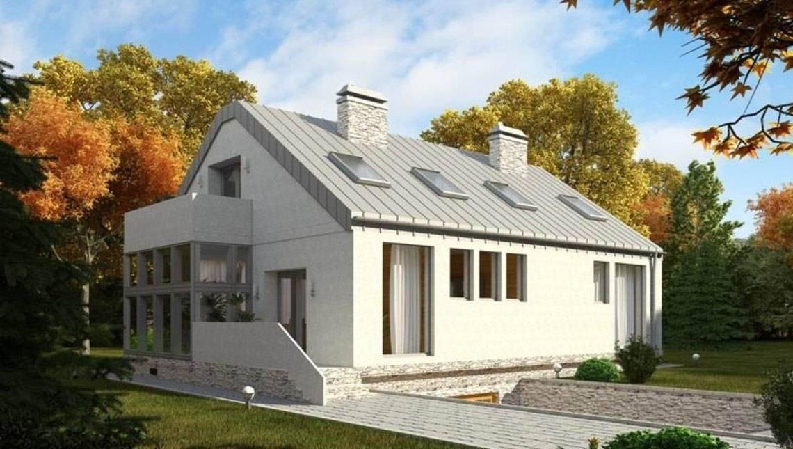 Проект современного наполовину стеклянного дома с гаражом в цоколе