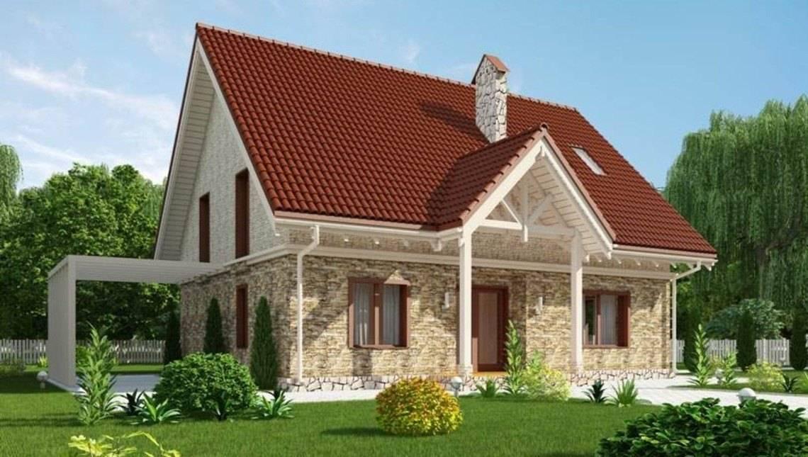 Проект уютного дома с мансардным этажом и с просторной террасой