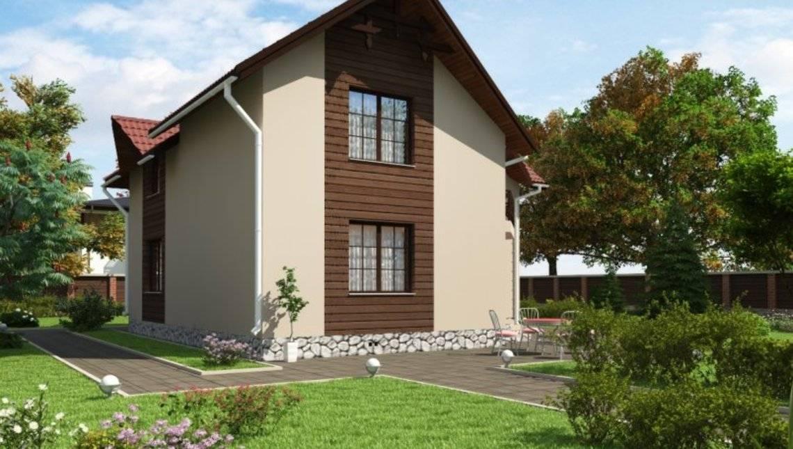 Проект двухэтажного коттеджа с угловым входом