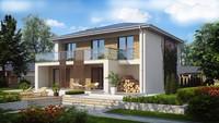 Проект двухэтажного коттеджа с большими окнами