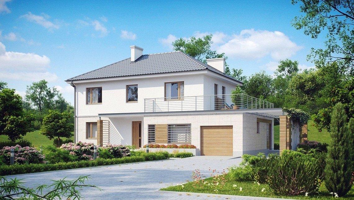 Проект двухэтажного загородного коттеджа с большой террасой