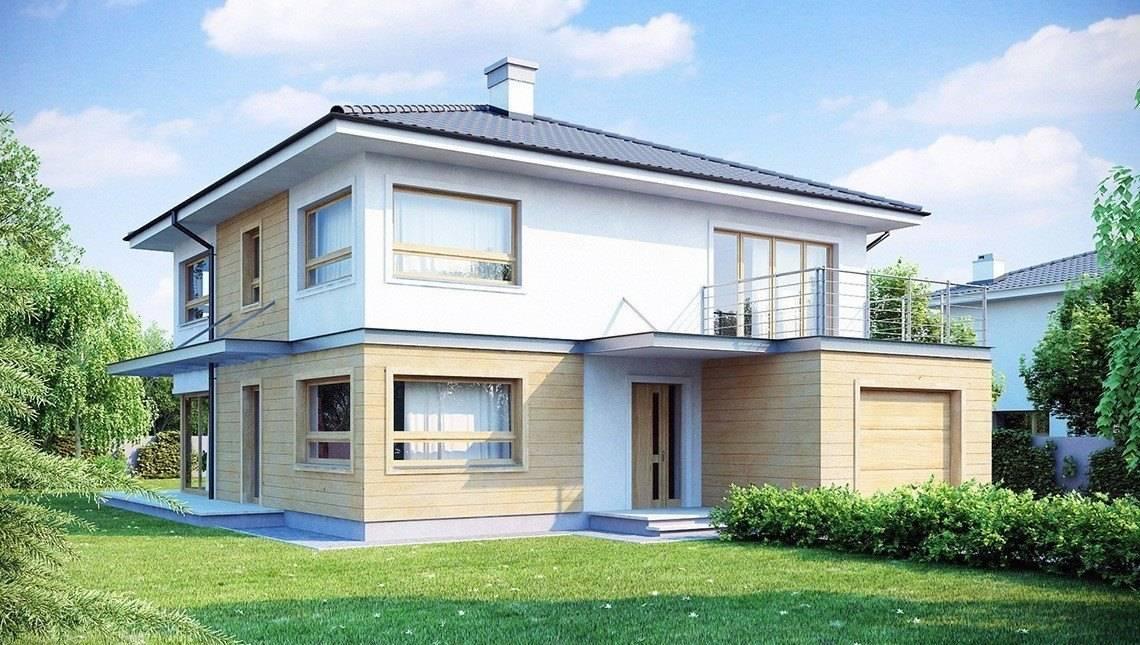 Проект двухэтажного дома с четырёхскатной крышей и удлиненным гаражом