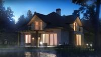 Проект дома с красивыми окнами и гаражом для двух автомобилей