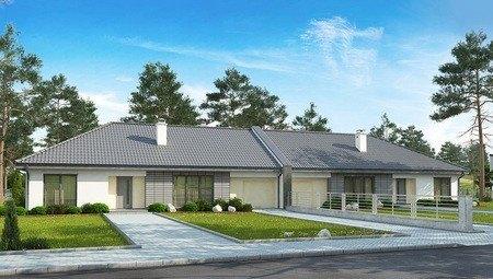 Проект комфортного одноэтажного особняка на две семьи с гаражом