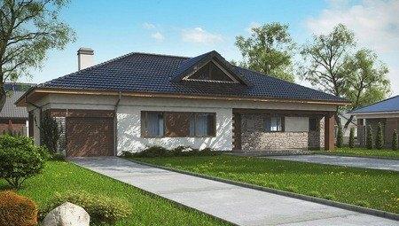 Проект классического одноэтажного коттеджа с мансардой, кирпичным фасадом и гаражом
