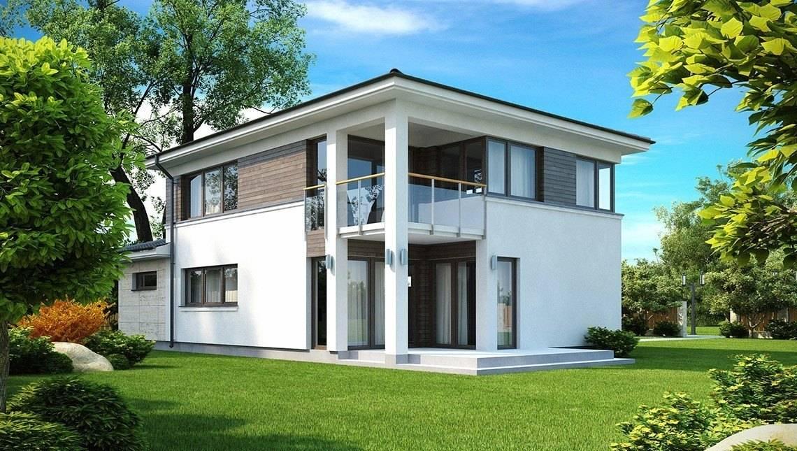 Проект двухэтажного современного дома с угловыми окнами на втором этаже