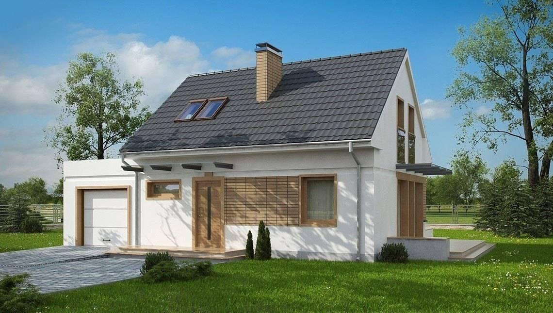 Проект небольшого дома с мансардой по типу 4M190 с пристроенным гаражом