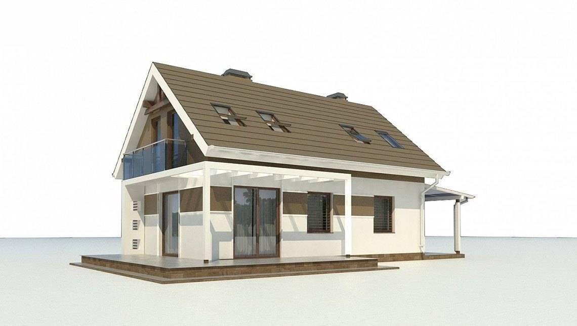 Проект небольшого аккуратного загородного дома с мансардой