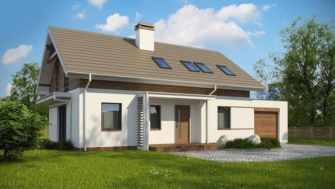 Проект дома с мансардой с комбинированным фасадом