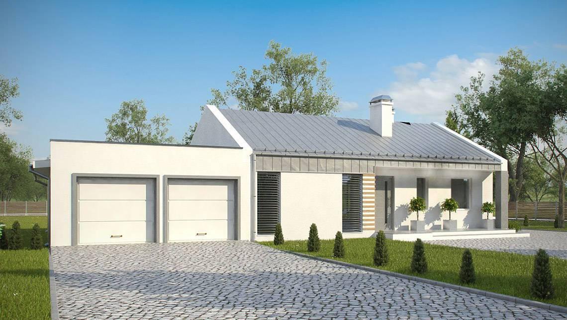 Современный загородный дом с гаражом на две машины по типу 4M272