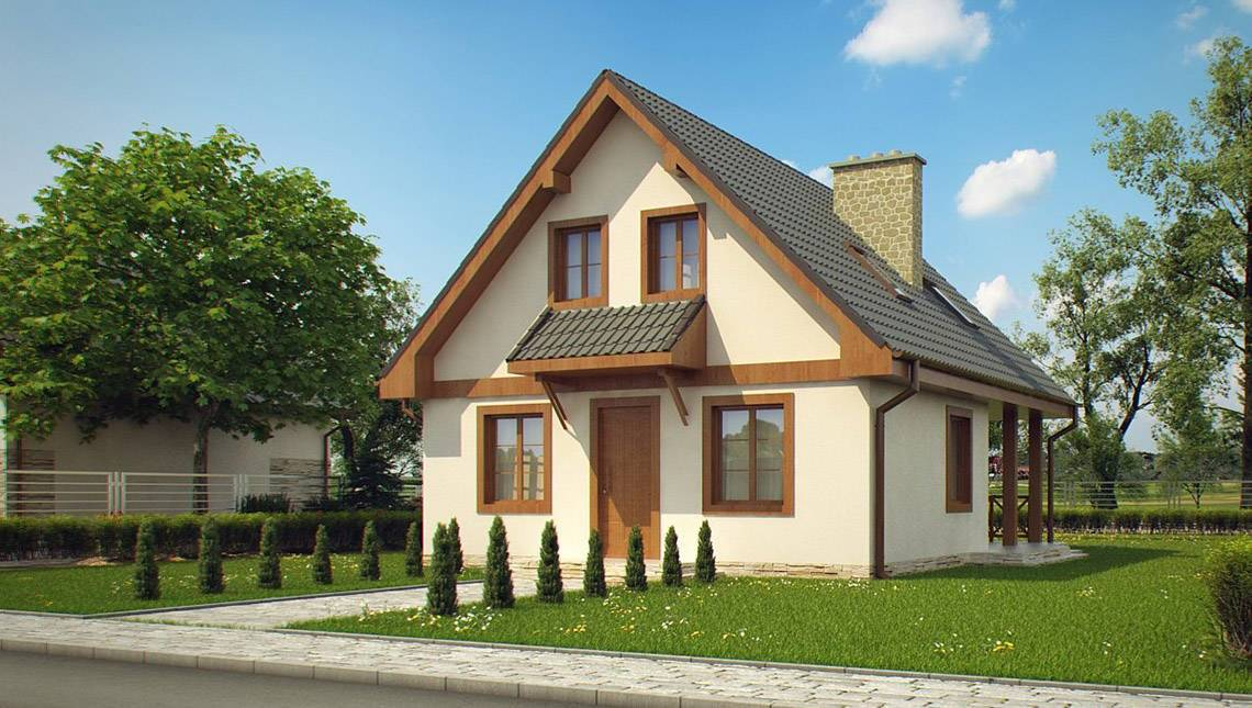 Уютный дом с мансардой и камином на террасе