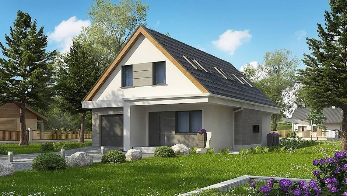 Необычный дом с мансардой для узкого участка