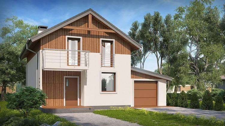 Двухэтажный дачный дом по типу 4M406 с пристроенным гаражом