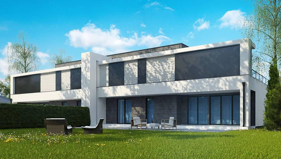 Современный таунхаус в стиле минимализм с просторными террасами