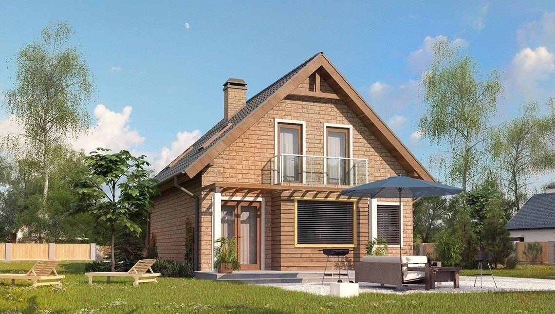Загородный дом с мансардой по типу 4M540 с кирпичным фасадом