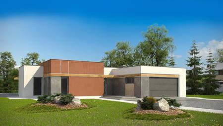 Проект одноэтажного современного дома с фронтальным гаражом