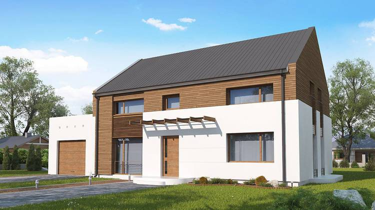 Проект двухэтажного дома по типу 4M600 с гаражом