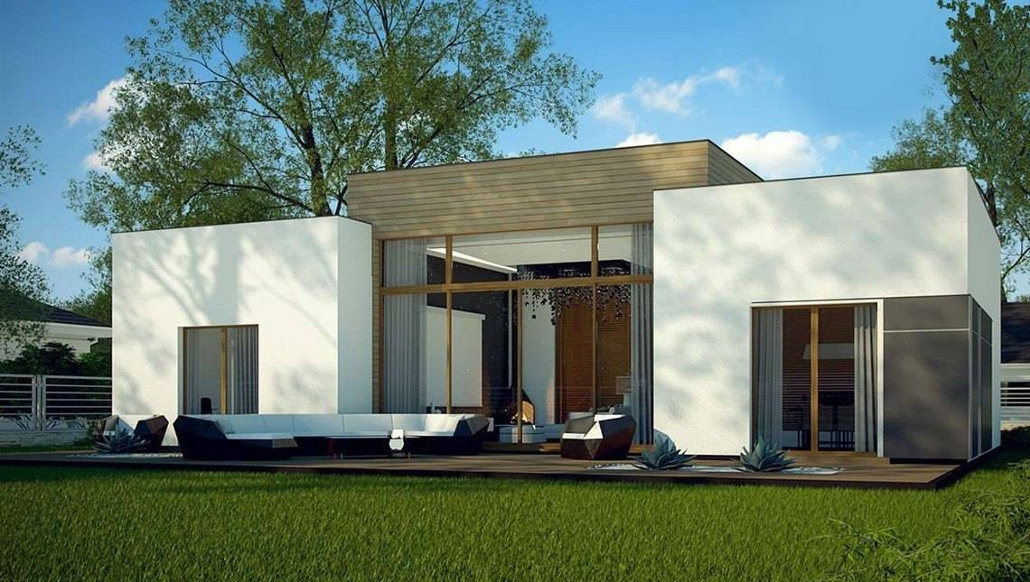 Одноэтажный дом в современном стиле со светлой гостиной