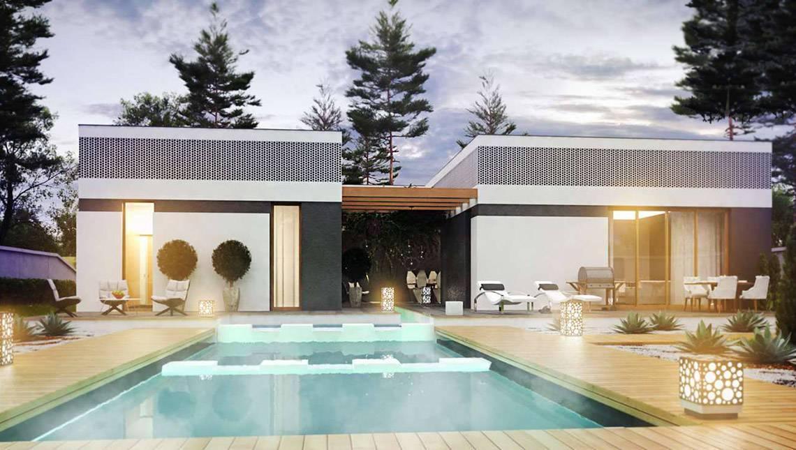 Шикарный одноэтажный дом с внутренним двориком