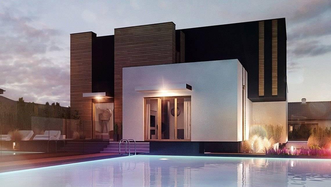 Стильный двухэтажный дом оригинальной формы с двумя гостиными