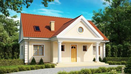 Проект дома 3-мя спальнями на мансарде и дополнительной спальней на первом этаже