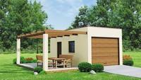 Проект одноэтажного гаража на одну машину с уютной террасой