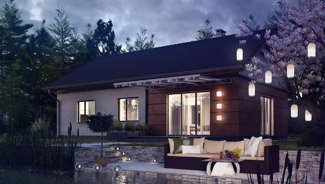 Стильный загородный дом на один этаж