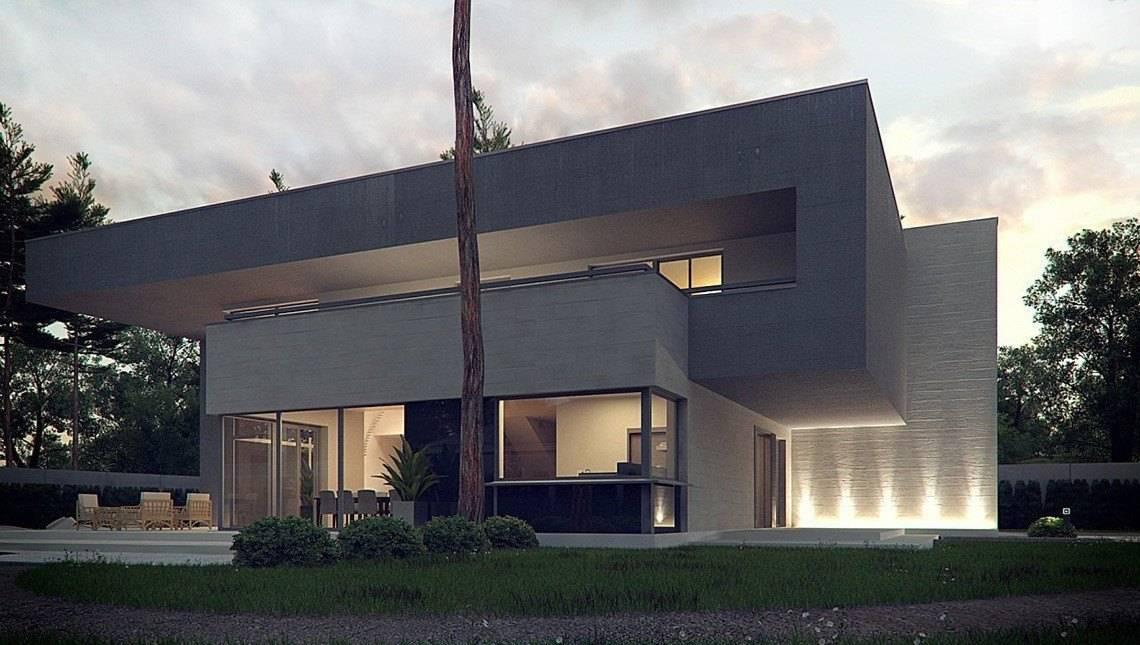 Современный дом в стиле минимализма со вторым светом