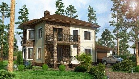 Двухэтажный дом с комбинированным фасадом