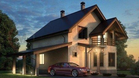Проект загородного дома с навесом для авто