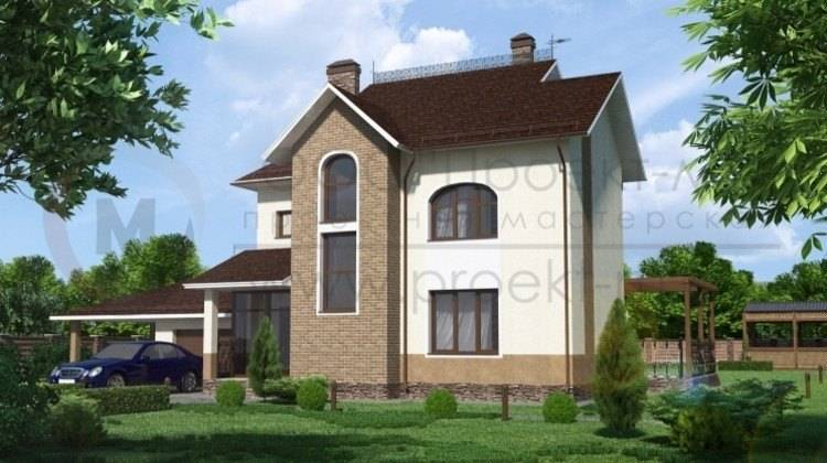 Двухэтажный коттедж с жилой мансардой