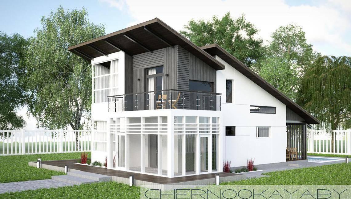 Архитектурный проект небольшого загородного необычного домика