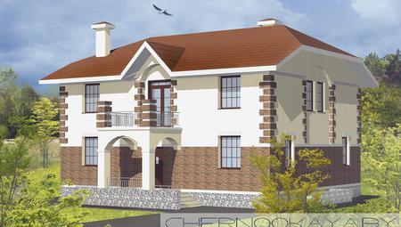 Проект красивой большой загородной виллы с оригинальным фасадом