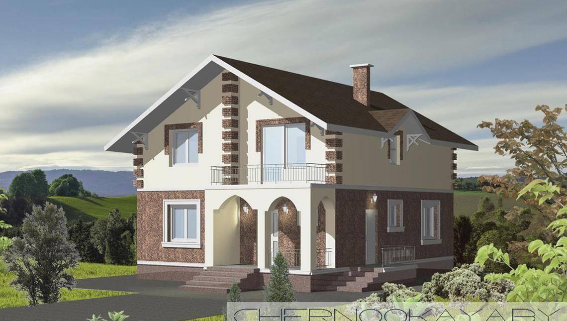 Проект 2х этажного дома с оригинальным фасадом