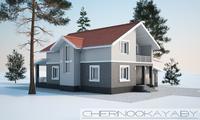 Проект двухэтажного дома с красивой крышей и кирпичным фасадом