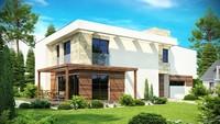 Проект двухэтажного дома модерн с гаражом для двух автомобилей