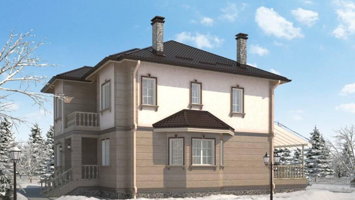 Архитектурный проект простого классического дома с гаражом и террасой