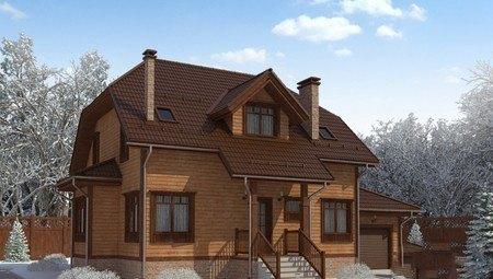 Архитектурный проект красивого дома с деревянной отделкой фасада
