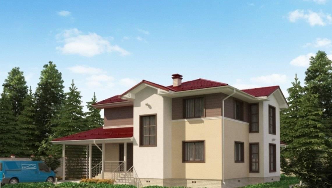 Проект жилого дома с террасой и навесом для автомобиля
