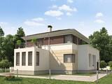 Проект жилого дома с гаражом для 1 авто и удобной террасой