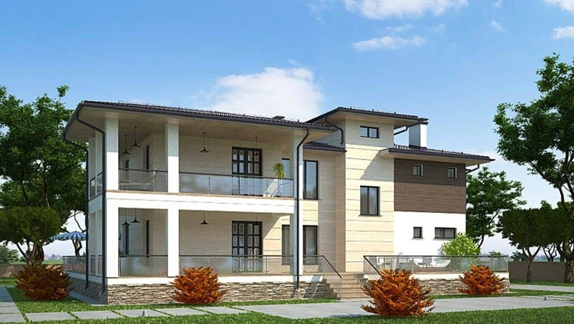 Проект 2х этажного удобного дома с плоской крышей
