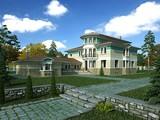 Проект большого загородного жилого особняка с гаражом для 2 авто и бассейном