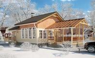 Архитектурный проект бани с террасой и антресолью