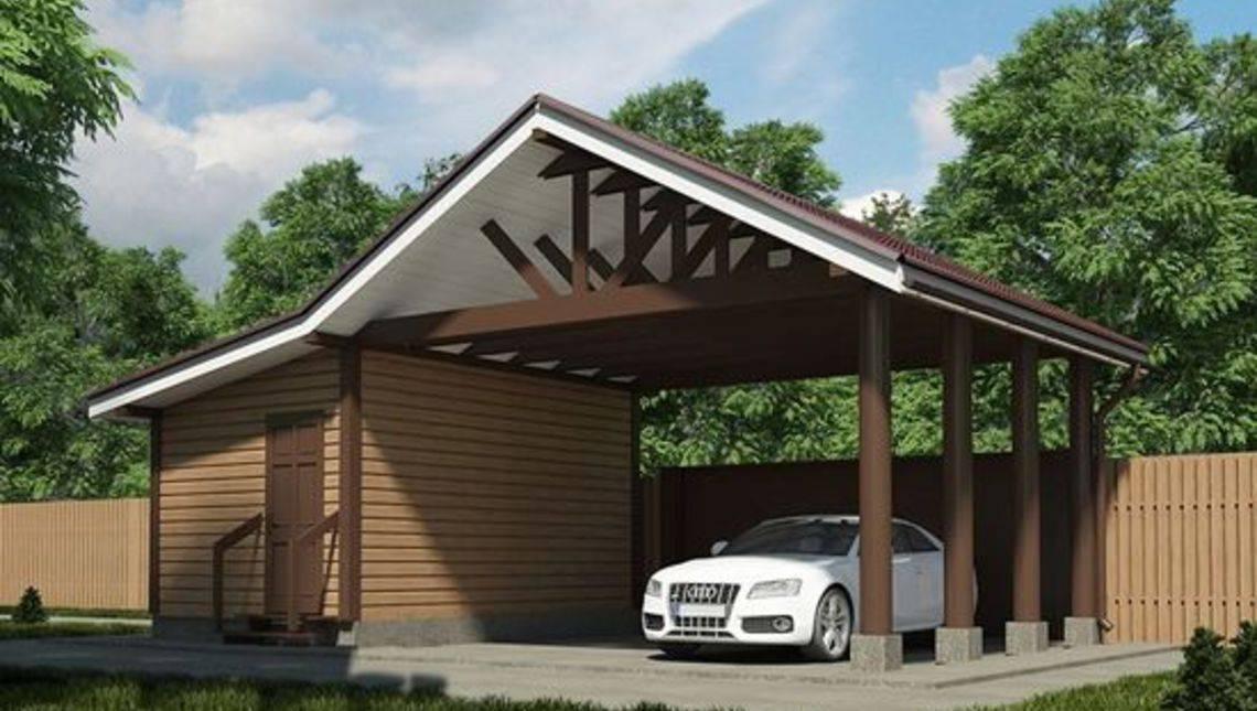 Проект хозяйственного помещения с навесом для двух авто