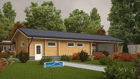 Проект большого гаража с деревянным фасадом