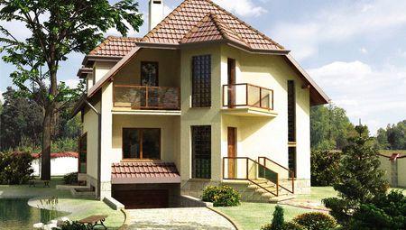 Изящное двухэтажное строение с цокольным этажом