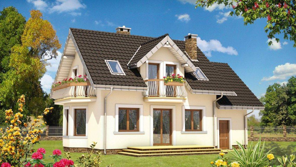 Дом с гаражом с 2я торцевыми балконами на мансарде