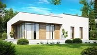 Проект современного дома с застекленной гостиной